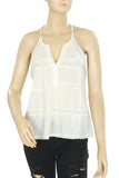 Joie Lace Trim Ivory Sleeveless Casual Gauze Blouse Top Medium M