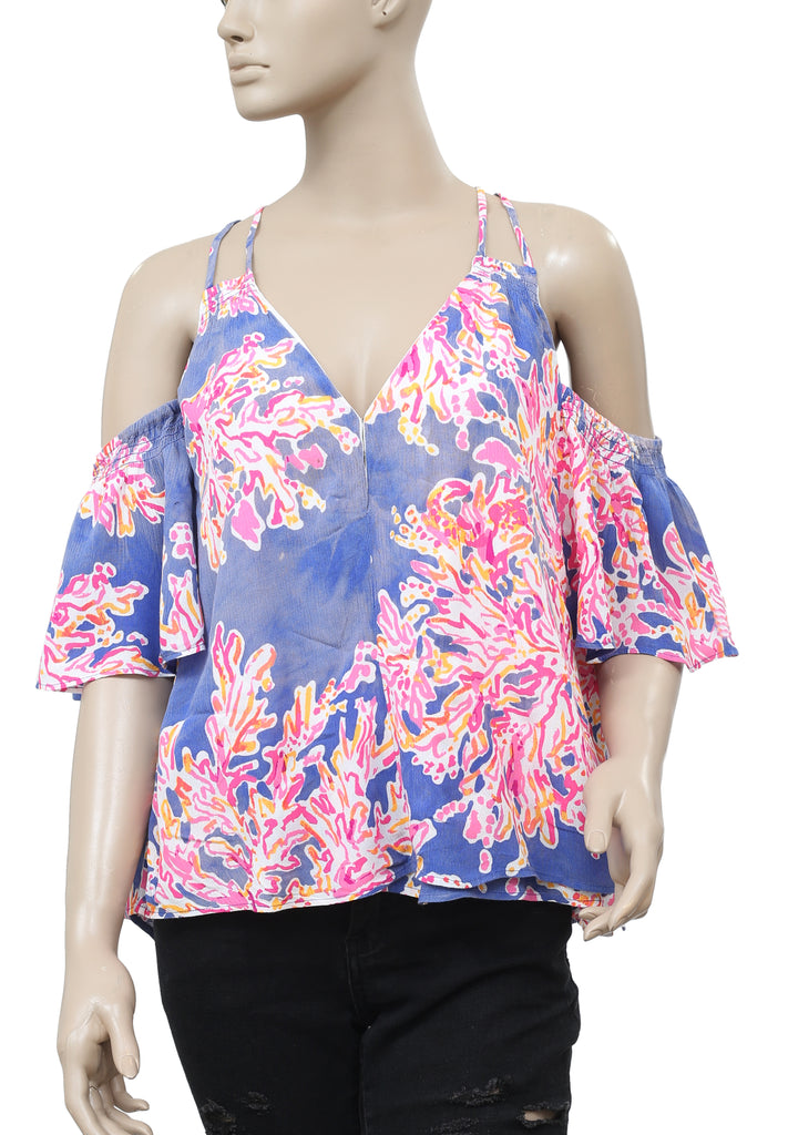 c8409b2a12b Lilly Pulitzer Bellamie Cold Shoulder Printed Blouse Top S – White  Chocolate Couture