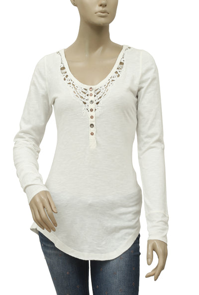 Free People Lou Legacy Crochet Henley Blouse Top XS