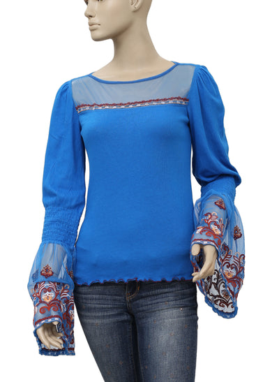 Free People High Tide Embroidered Bell Sleeve Top XS
