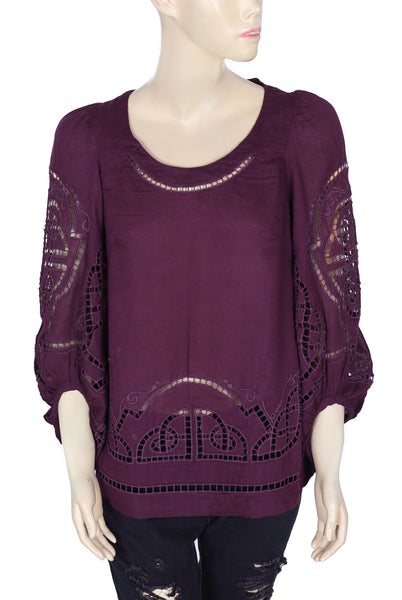 Meadow Rue Embroidered Purple Top S