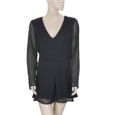 Zara Bead Embellished V Neck Long Sleeve Black Romper Dress M