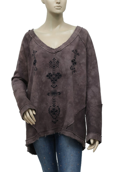 Free People Embroidered Tie Dye Pullover Top L