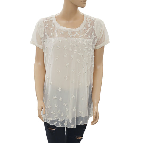 High Use Embellished Embroidered Sheer Ivory Top Evening Festive M New