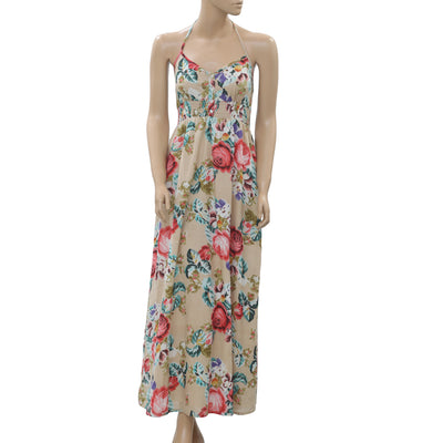 White Chocolate Floral Printed Smocked Halter Maxi Dress S