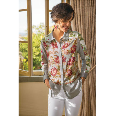 Soft Surroundings Rosemary Floral Printed Shirt Top XL