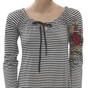 Caite Anthropologie Floral Embroidered Striped Printed Top S