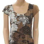 Desigual Rubber Printed Lace Asymmetrical Tunic Top Mini Skirt Set S