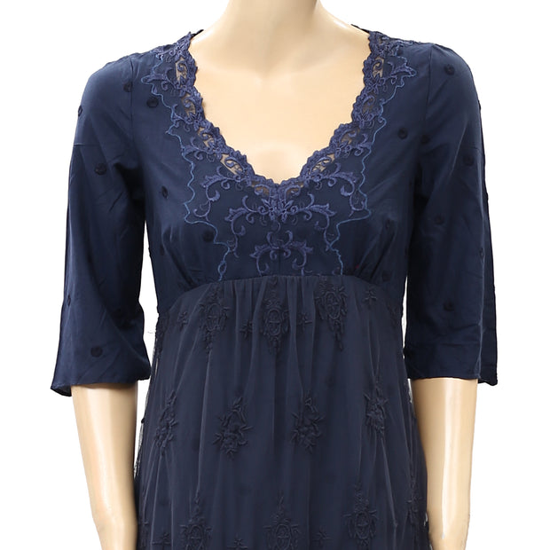 Odd Molly Anthropologie Contrast Dot Embroidered Mini Dress S