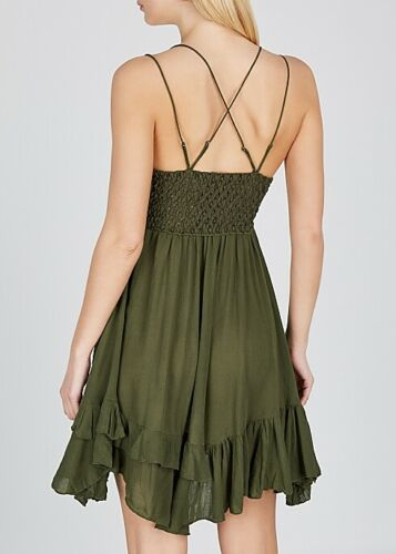 "Free People FP One ""Adella"" Slip Mini Dress Crochet Lace Tiered XS NWD"