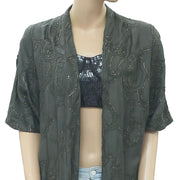 Anthropologie Sequin Coverup Top Front Open Evening Gray Cocktail M/L