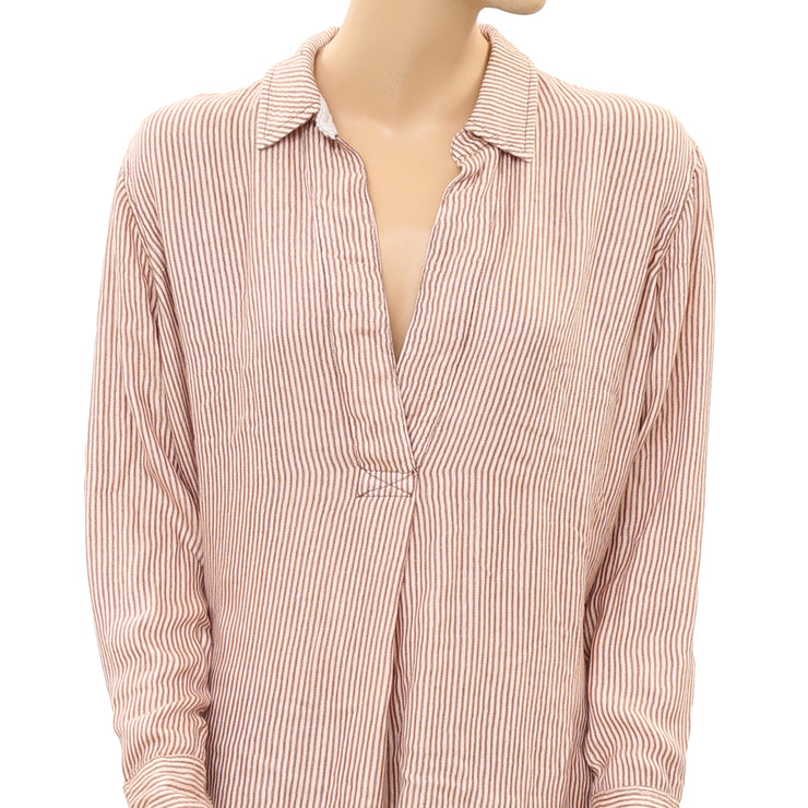 Free People Stripe On The Road Shirt Tunic Top Peach S