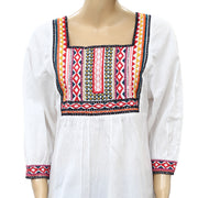 Anthropologie Abigail Embroidered Tunic Top S