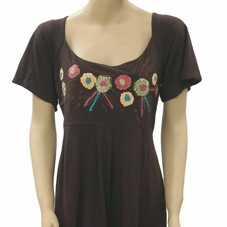 Caite Anthropologie Floral Embroidered Mini Dress Brown M
