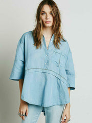 Free People Weekend Escape Buttondown Tunic Top Blue S