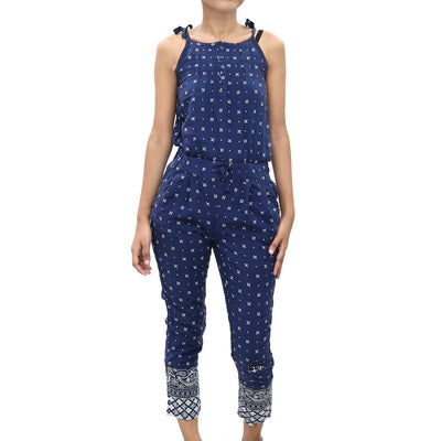 Tommy Hilfiger Kids Girls Printed Jumpsuit Dress Navy Romper 7 Years