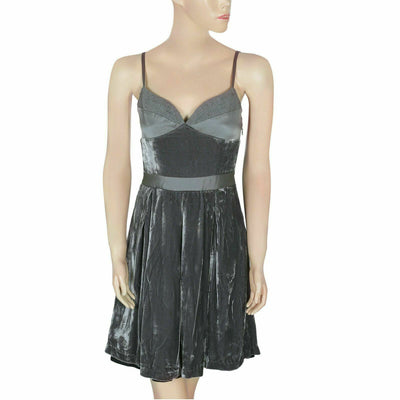 Anthropologie Pleated Velvet Dark Gray Mini Tunic Dress XS