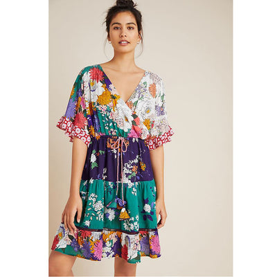 Anthropologie Nettie Tiered Mini Dress L