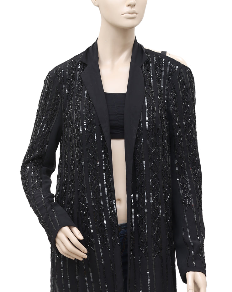 White Chocolate Embellished Back Open Black Long Cardigan Small S