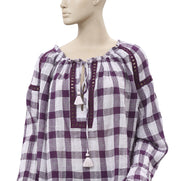Free People Honey Grove Plaid Peasant Cutout Lace Top M