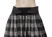 Free People Plaids & Check Printed Embroidered Black Mini Skirt S