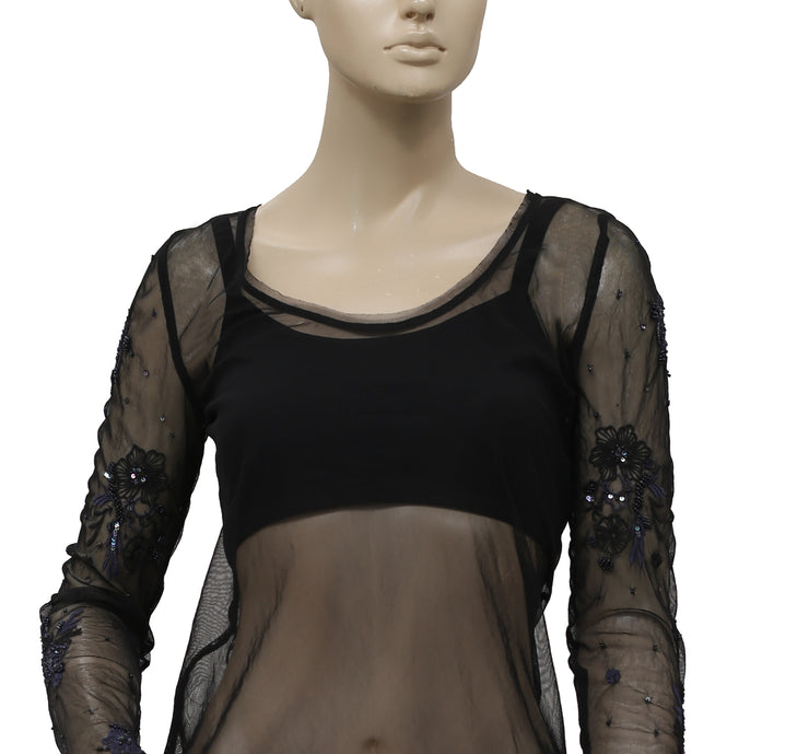 Free People Embellished Mesh Black Embroidered Sheer Top XS