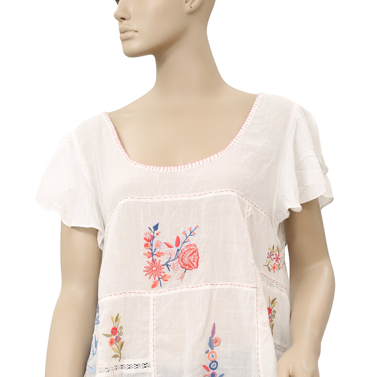 Free People Floral Embroidered White Top XL
