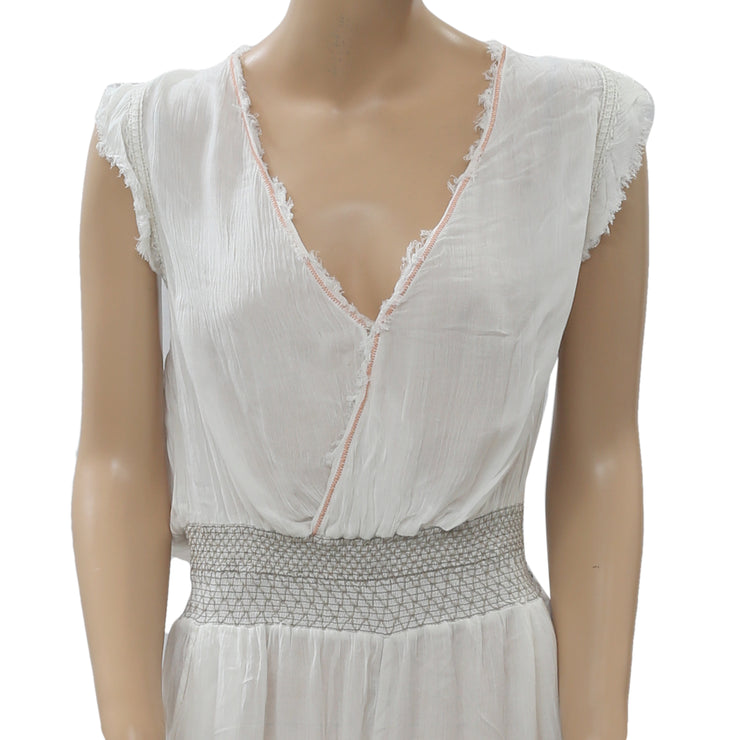 Free People Smocked White Romper Dress M