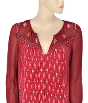 Lucky Brand Printed Blouse Top Small S