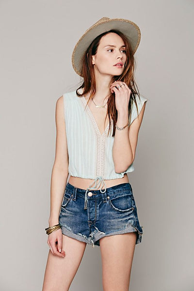 Free People Something Like Olivia Lace Crop Cami Top Beach Boho L