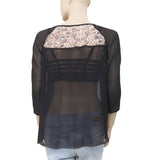 Ulla Johnson Printed Round Neck Casual Black Blouse Top S