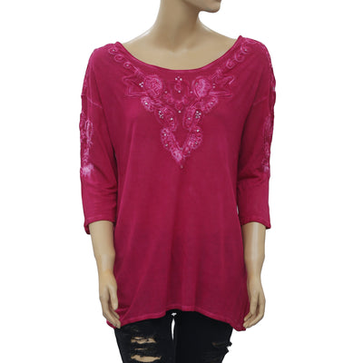 Free People Patchwork Beaded Tunic Pink Blouse Top M