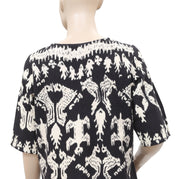White Chocolate Printed Cotton Wool Blouse Top Medium M