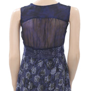 Desigual Printed High Low Mini Dress Fringes Smocked Navy S