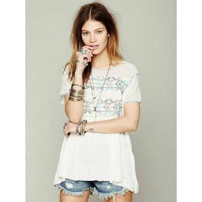 Free People Shenandoah Embroidered Tunic Top L New