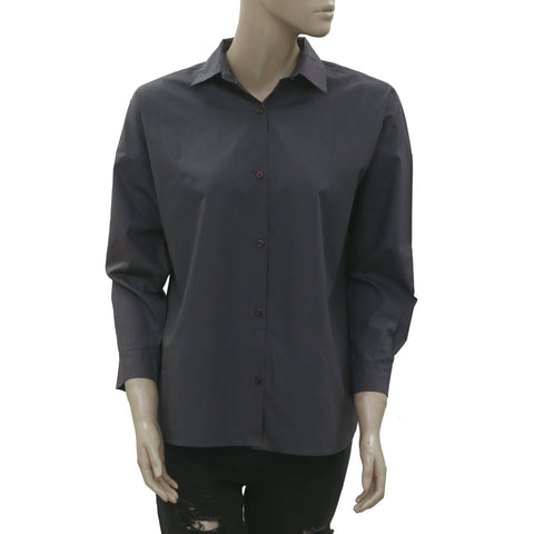 New All Saints Button Down Collor Oversized Tunic Shirt Top Gray S