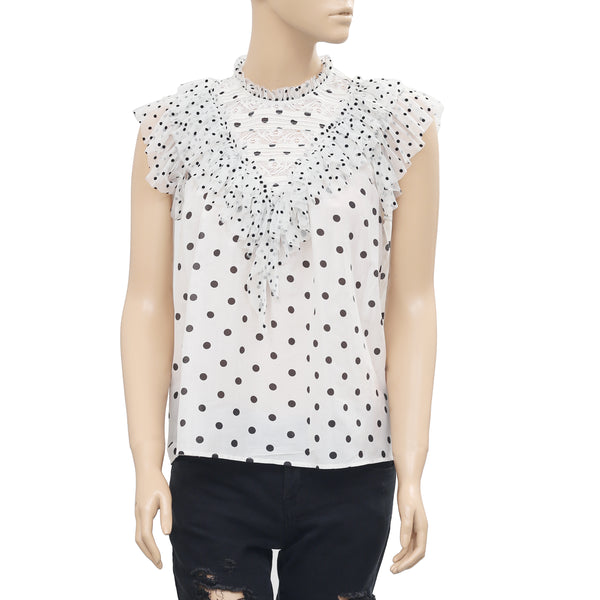 Ulla Johnson 'Wylie' Polka Dot Printed Lace Ruffle Blouse Top S