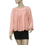 Kimchi Blue Mayla Lace-up Peach Blouse Top S
