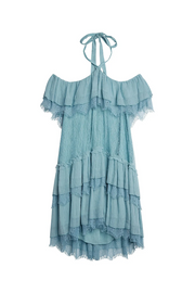 Alice + Olivia Icy Aqua Flora Lace Mini Dress