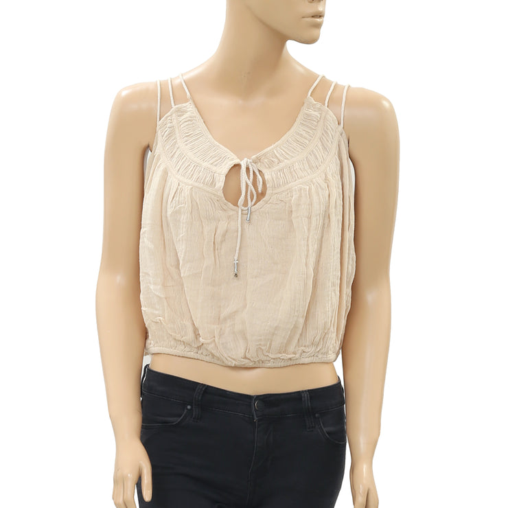 Free People Strappy Gather Gauze Beige Blouse Top M