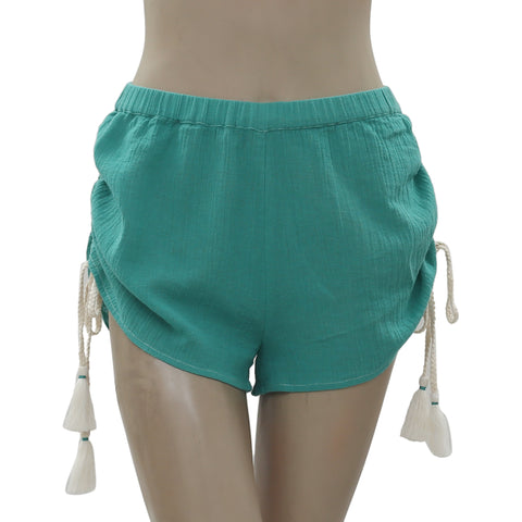 New Free People Endless Summer Draw String Gauzy Green Crop Shorts S