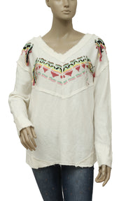Free People Embroidered  Fringes Ivory Pullover  Top S