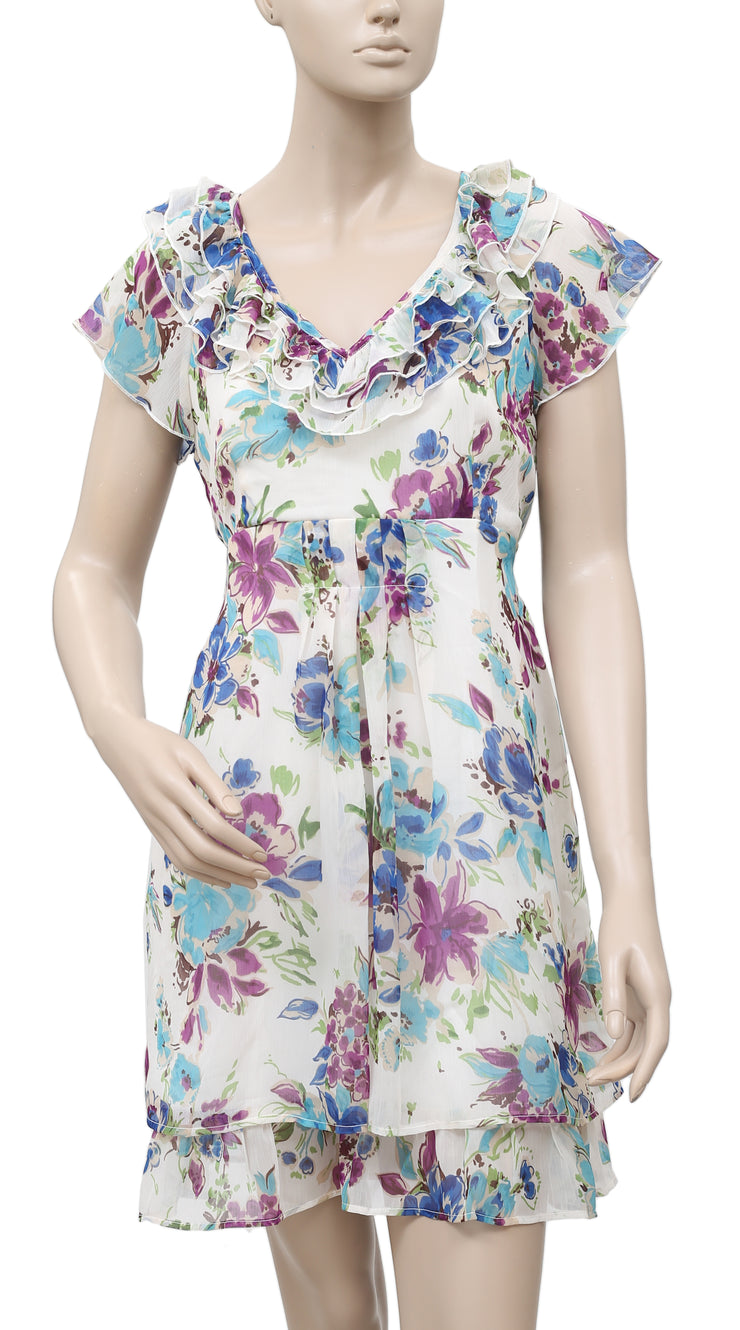 White Chocolate Floral Printed Ruffle Boho Tunic Dress Small S
