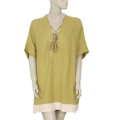 Out From Under Lola Beach Laceup Kimono Kaftan Tunic Top L