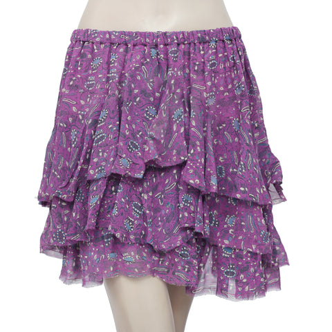 Isabel Marant Etoile Printed Ruffle Purple Silk Mini Skirt Small S