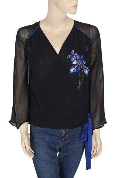 Leifsdottir Anthropologie Printed Black Blouse Top S