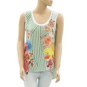 Desigual Striped Printed Blouse Top Embellished High Low Lace S New