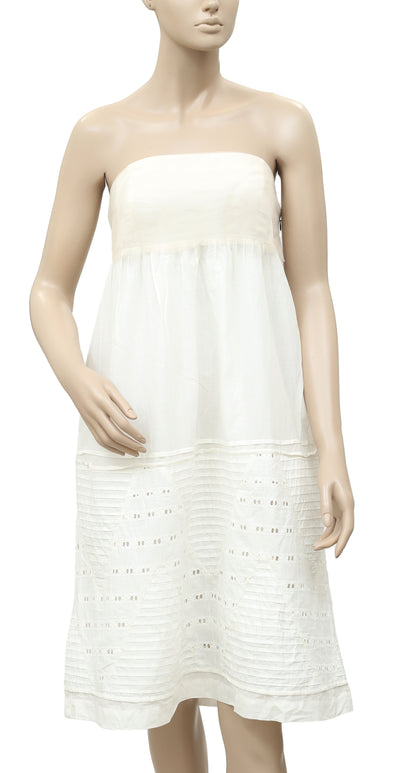White Chocolate Mesh Eyelet Embroidered Pintuck Ivory Tube Dress S