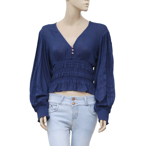 8ac35bbd35b0 Free People Elasticize Smocked Dolman Sleeves Navy Blue Blouse Top S – White  Chocolate Couture