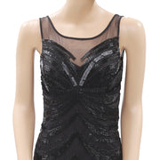 Magnolia Sequin Beaded Embellished Bodycon Black Mini Dress XS